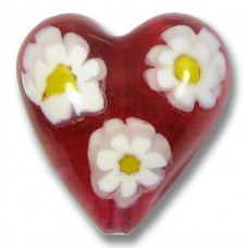 1 Murano Glass Rosy Ruby Pink Millefiore 20mm Heart Bead