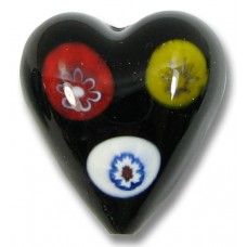 1 Murano Glass Black with Multicoloured Millefiore 20mm Heart Bead