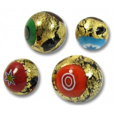 1 Murano Glass Goldfoiled 10mm Millefiore Round Bead
