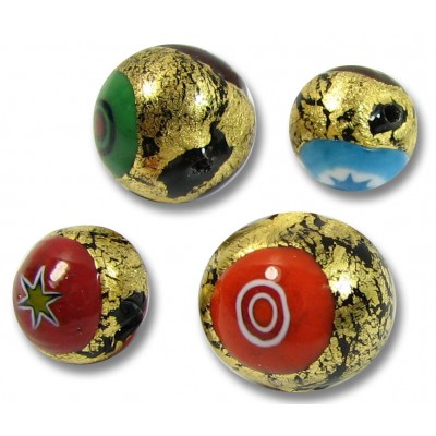 1 Murano Glass Goldfoiled 8mm Millefiore Round Bead