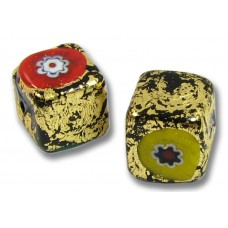 Pair Murano Glass Goldfoiled 8mm Millefiore Cube Beads