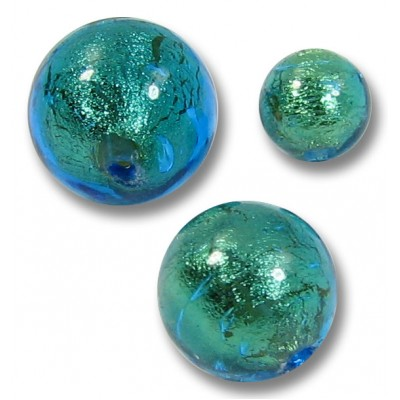 10 Murano Glass Kingfisher Goldfoil 8mm Round Beads