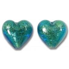 Pair Murano Glass Kingfisher Goldfoil 14mm Heart Beads