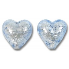 Pair Murano Glass Silver Foiled Ice Blue 14mm Heart Beads