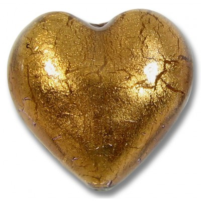 1 Murano Glass Chocolate Amethyst Gold Foiled 28mm Heart