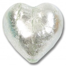 1 Murano Glass Crystal Silver Silver Foiled 28mm Heart