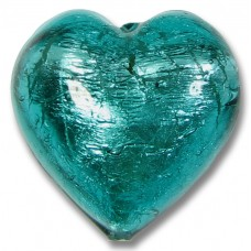 1 Murano Glass Verde Marino Silver Foiled 28mm Heart