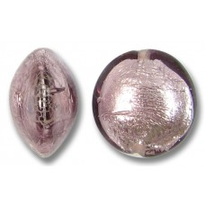 1 Murano Glass Light Amethyst Silverfoil 14mm Lentil