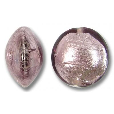 1 Murano Glass Light Amethyst Silverfoil 14mm Lentil