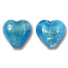 Pair Murano Glass Dark Aquamarine White Gold Foiled 10mm Heart Beads