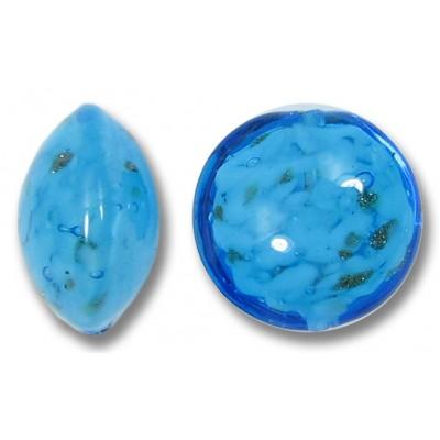 1 Murano Glass Dark Aquamarine Sommerso 14mm Lentil Bead