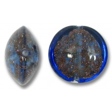 1 Murano Glass Dark Periwinkle Sommerso 14mm Lentil Bead