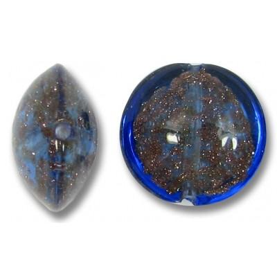 1 Murano Glass Dark Periwinkle Sommerso 14mm Lentil Bead