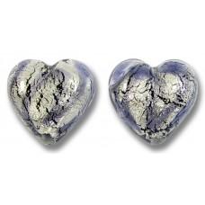 2 Murano Glass White Goldfoil Black Diamond Ink Blue 14mm Heart Beads