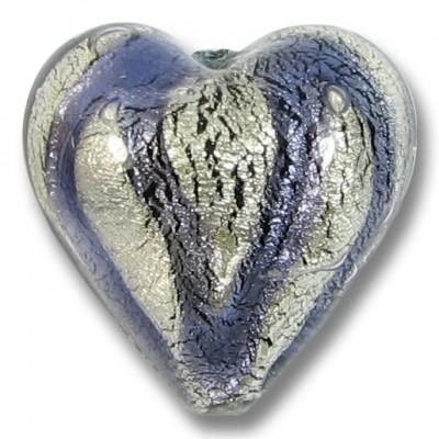 1 Murano Glass White Goldfoil Black Diamond and Purple Velvet 20mm Heart Bead
