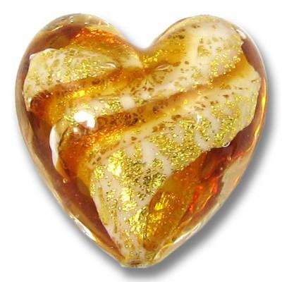 1 Murano Glass 24kt Gold Foil Topaz 20mm Heart Bead