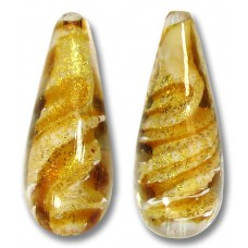 1 Murano Glass 24kt Gold Foil Topaz Drop Bead