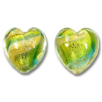 2 Murano Glass 24kt Gold Foil Lime Aqua Heart Beads