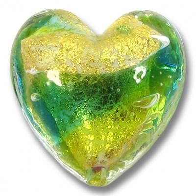 1 Murano Glass 24kt Gold Foil Lime Aqua Heart Bead