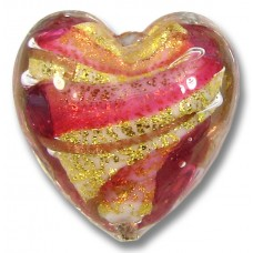 1 Murano Glass 24kt Gold Foil Rose and Ruby Heart Bead