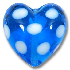 1 Murano Glass Blue and White Spotted Heart Bead