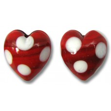 2 Murano Glass Red and White Spotted Heart Beads