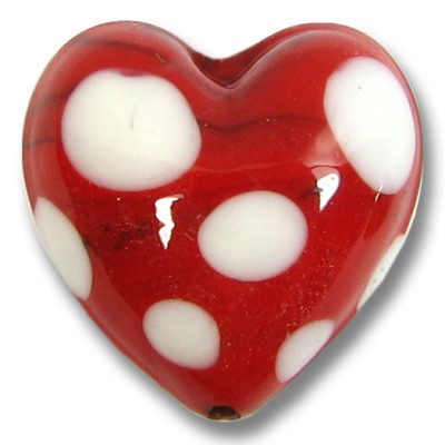 1 Murano Glass Red and White Spotted Heart Bead