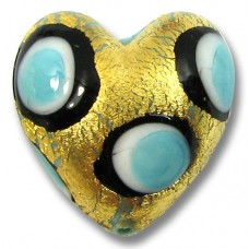 1 Murano Glass Turquoise, Black and White Goldfoil Spotted Heart Bead