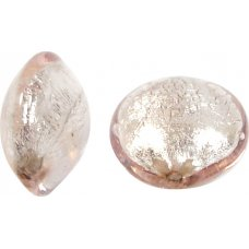 1 Murano Glass Pale Pink Silverfoil 14mm Lentil
