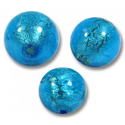 1 Murano Glass Dark Aquamarine Silver Foiled 14mm Round Bead