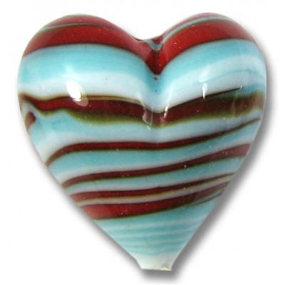 1 Murano Glass Turquoise Red Striped Heart