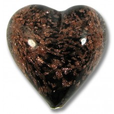 1 Murano Glass Black Sommerso Heart