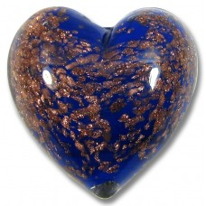 1 Murano Glass Blue Sommerso Heart