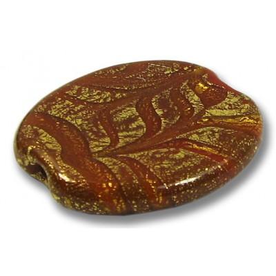 1 Murano Glass Almond Bead  24kt Goldfoil Rust