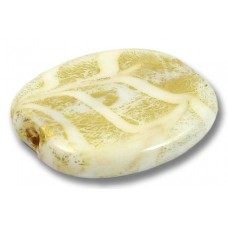 1 Murano Glass Almond Bead  24kt Goldfoil White