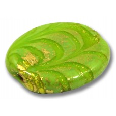 1 Murano Glass Almond Bead  24kt Goldfoil Opaque Lime