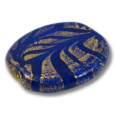 1 Murano Glass Almond Bead  24kt Goldfoil Dark Blue