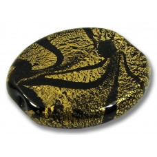 1 Murano Glass Almond Bead  24kt Goldfoil Black