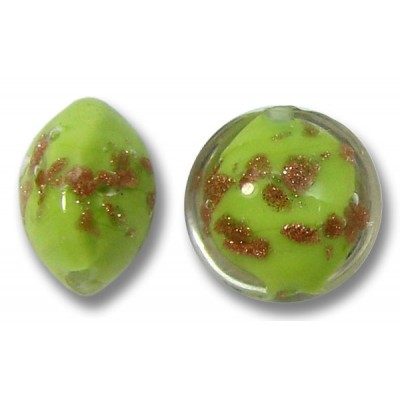 1 Murano Glass Sommerso 10mm Lentil Bead  Lime