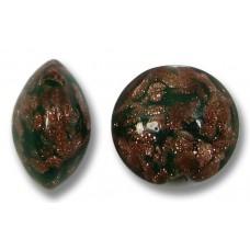 1 Murano Glass Sommerso 10mm Lentil Bead  Emerald