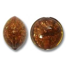 1 Murano Glass Sommerso 10mm Lentil Bead  Topaz