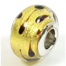 1 Murano Glass Pandora Compatible Spotted Goldfoil Bead with Sterling Silver Core