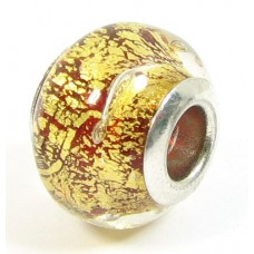 1 Murano Glass Pandora Compatible Rubino Goldfoil Bead with Sterling Silver Core