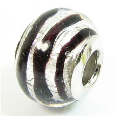 1 Murano Glass Pandora Compatible Black Spiral Silverfoil Bead with Sterling Silver Core
