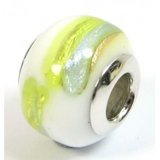 1 Murano Glass Pandora Compatible Sea Jewel Bead with Sterling Silver Core