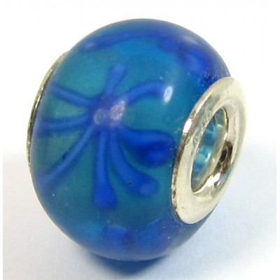 1 Murano Glass Pandora Compatible Venitian Flower Bead with Sterling Silver Core