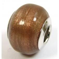 1 Murano Glass Pandora Compatible Aventurine Bead with Sterling Silver Core