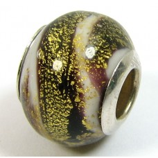 1 Murano Glass Pandora Compatible Black and White Goldfoil Bead with Sterling Silver Core
