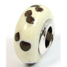 1 Murano Glass Pandora Compatible White with Aventurine Dotty Bead with Sterling Silver Core