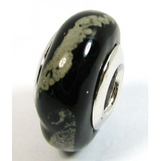 1 Murano Glass Pandora Compatible Black with Grey Trails Bead with Sterling Silver Core